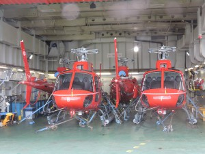 The 4 squirrel helicopters to be used for the ressuply