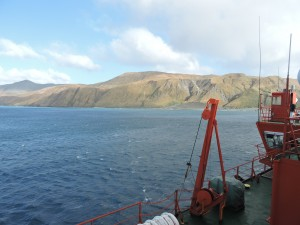 View of Macquarie Island from the Aurora