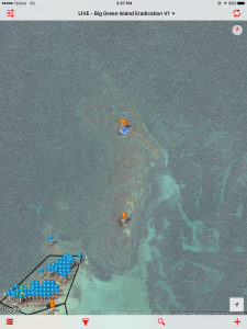 iPad app showing bait stations on The Reef